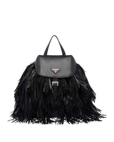 a5b1b744515a03 Prada Soft Calfskin and Tessuto Fringe Backpack, Black (Nero ...
