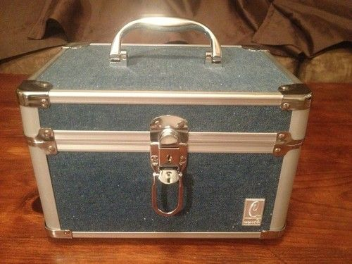 Large Caboodles Blue Carry Box Train Case Make Up Case Jewelry Case
