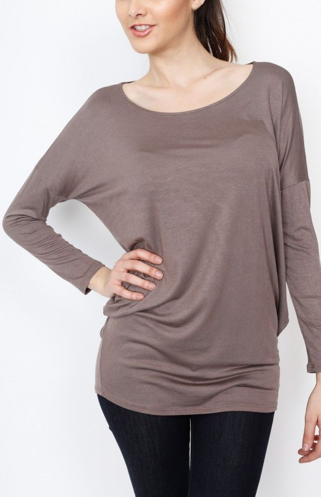 Mocha Knit Long Sleeve Top - #WholesaleTops, #Casual #DayTops, #Solid, #Dressy #Chic #Trendy, #Spring #SpringWear, #CloseoutTops