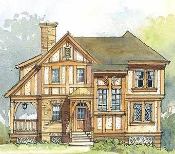 Plan 56148ad Two Bedroom Getaway With Porch Tudor Style Homes Tudor House Small House Plans