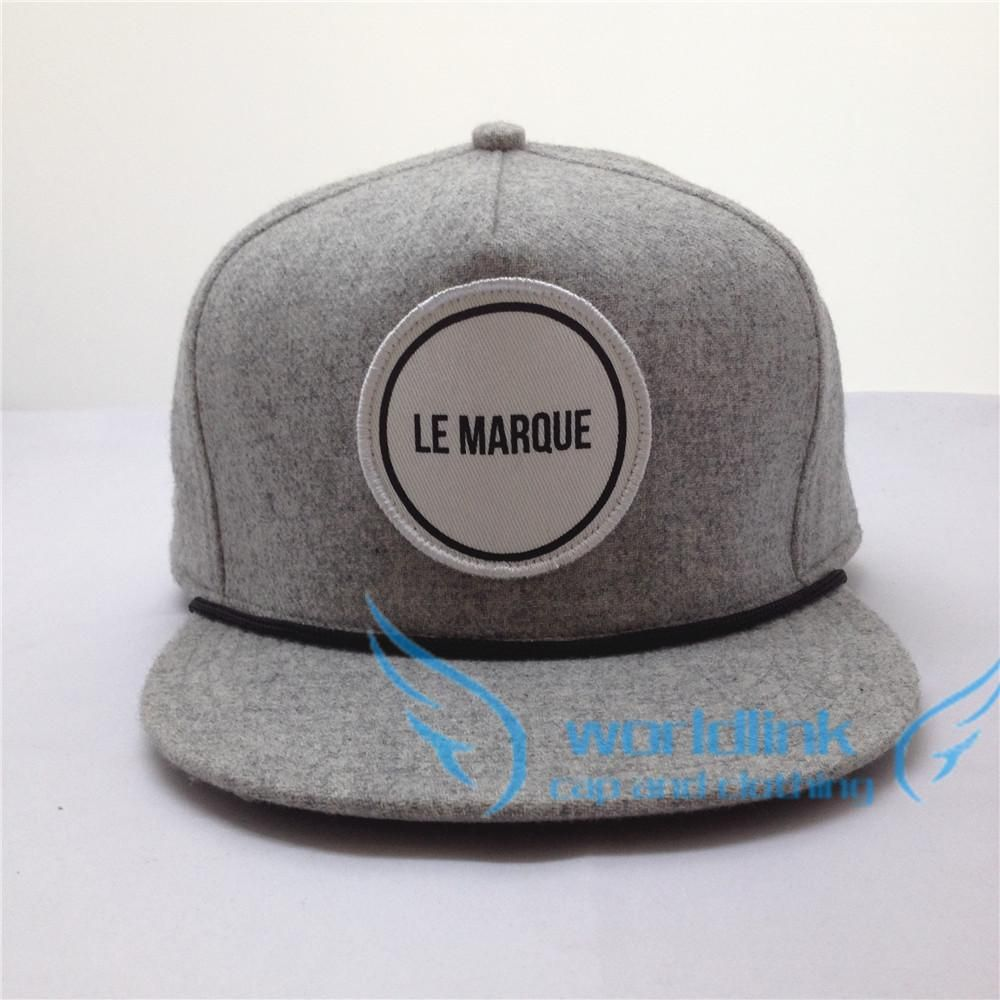 wool fabric flat brim hat,plain simple snapback cap with string,hip hop hat  with woven embroidery Patch 511b324e7cc