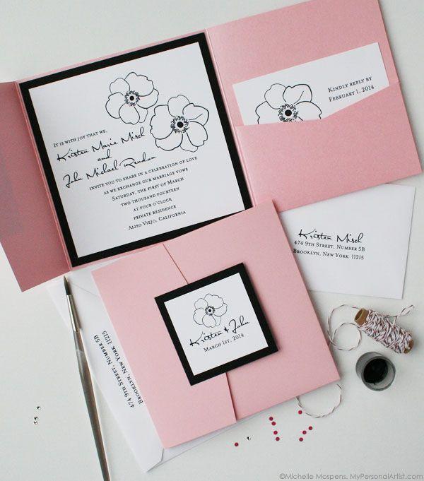 Hand Illustrated Anemone Flower Folder Wedding Invitations
