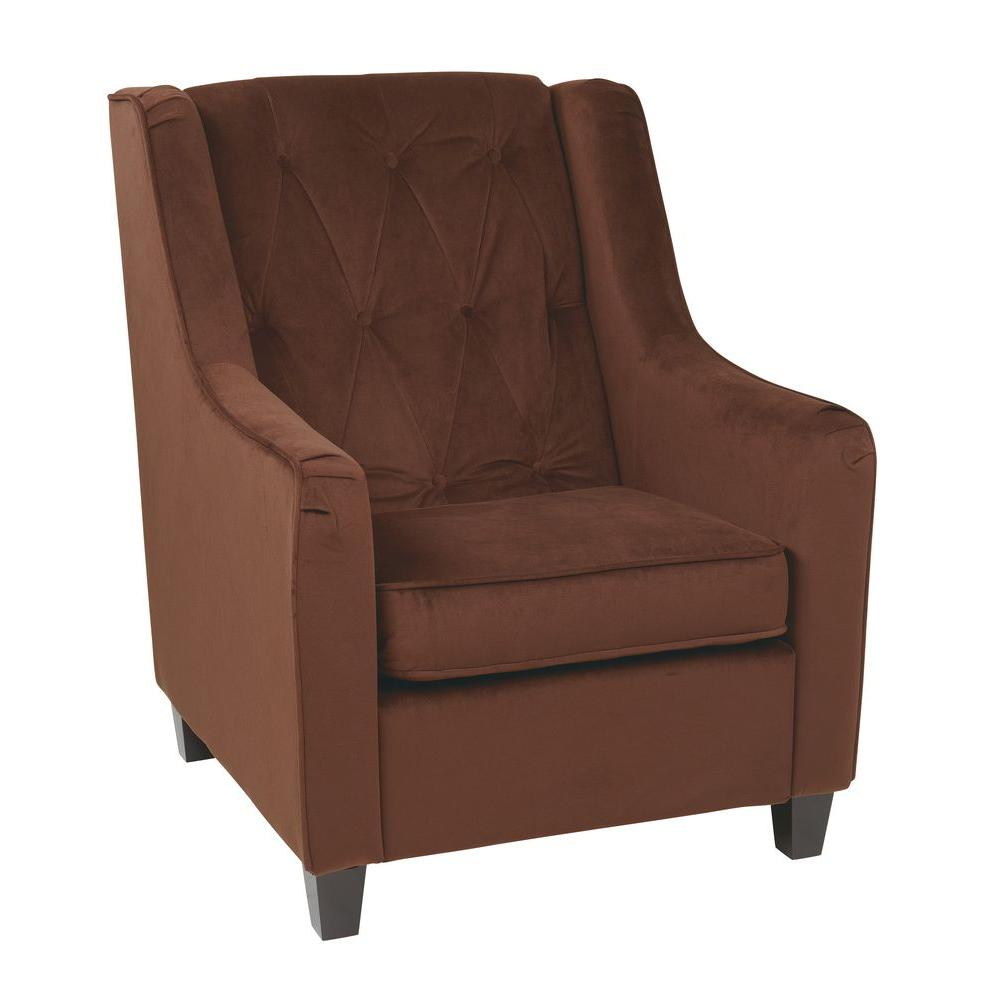 Ave Six Chocolate Velvet Tufted Arm Chair Tufted Accent