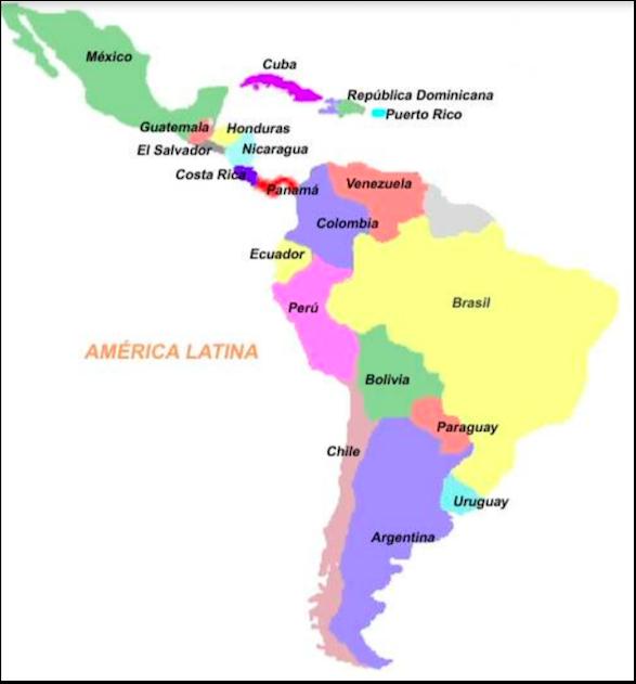 Carte Amerique Du Sud Et Panama.Pays D Amerique Latine Cartes Pour Le Cours D Espagnol