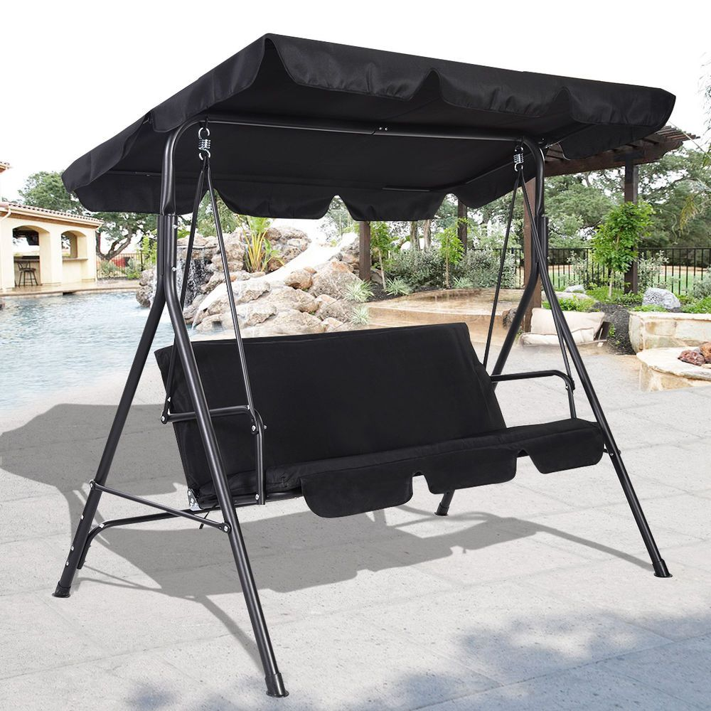 Garden Swing Bench Hammock Canopy Swinging Seater Bench Chair Cushioned Metal