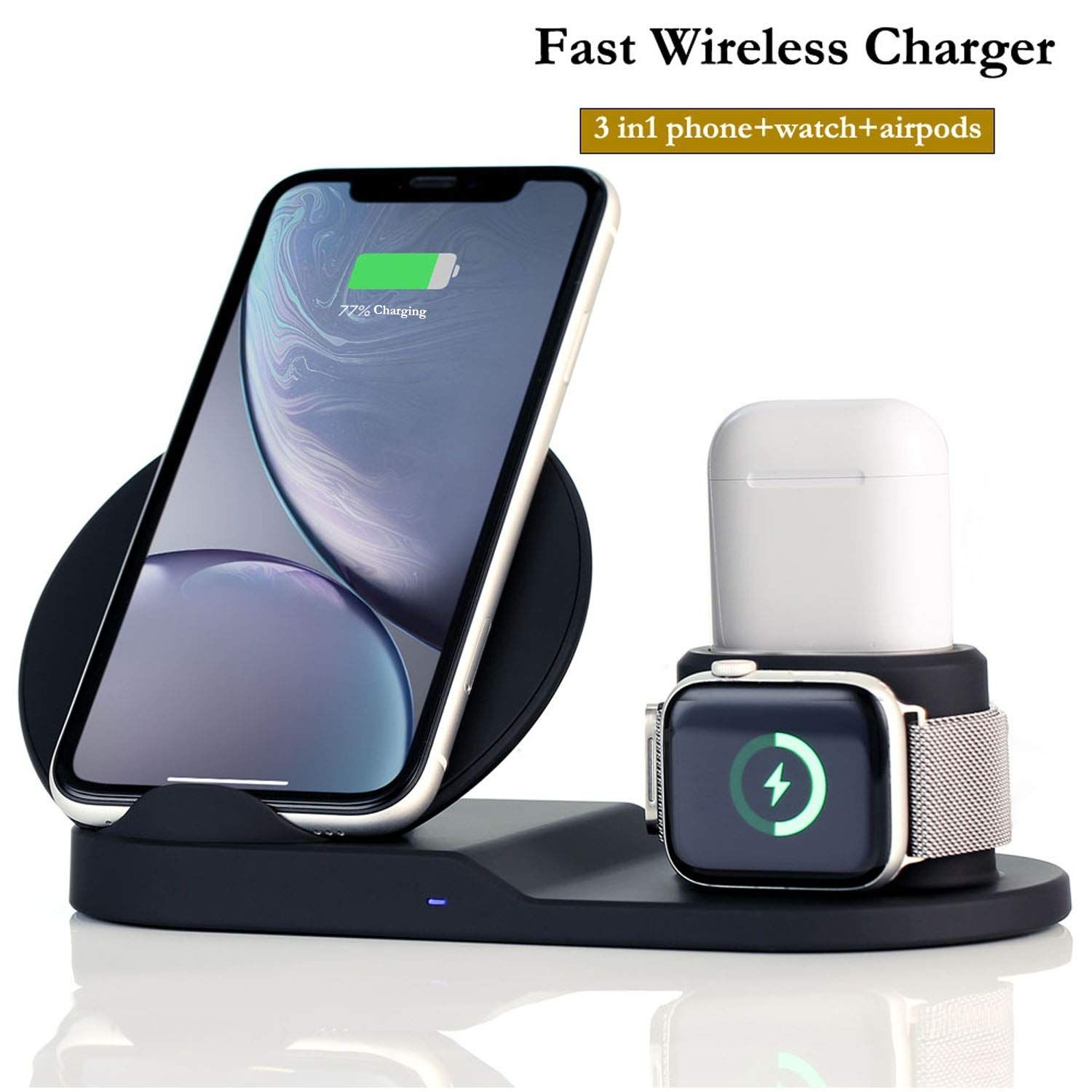 Wireless Charger Station 3 In 1 Charging Stand For Apple Watch Dock For Airpods Qi Certifie