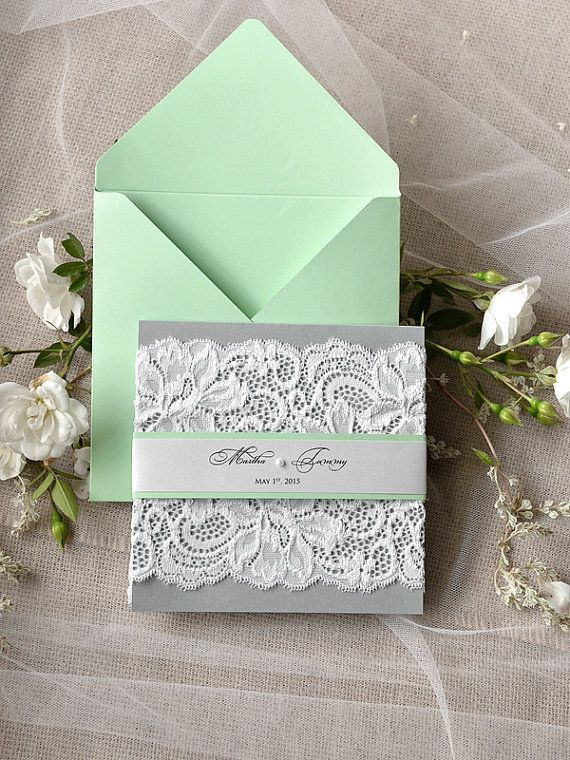 50+ mint wedding color ideas you will love | weddings, lace, Wedding invitations