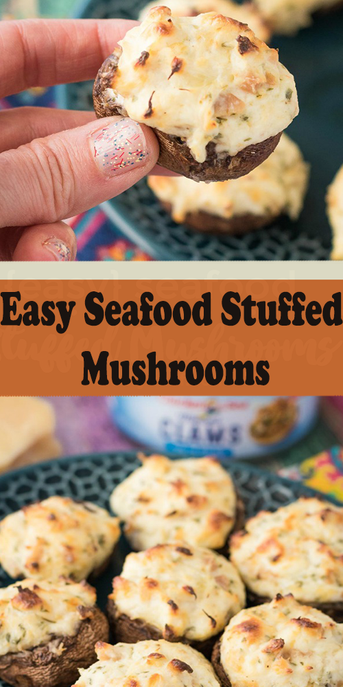 easy seafood stuffed mushrooms  hot from my oven  easy
