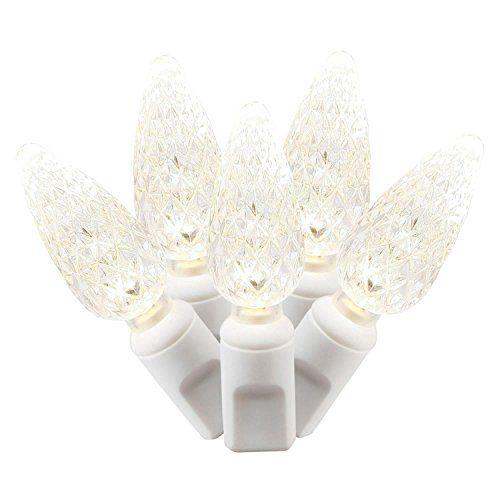 Set of 50 Warm White Commercial Grade LED C6 Mini Christmas Lights ...
