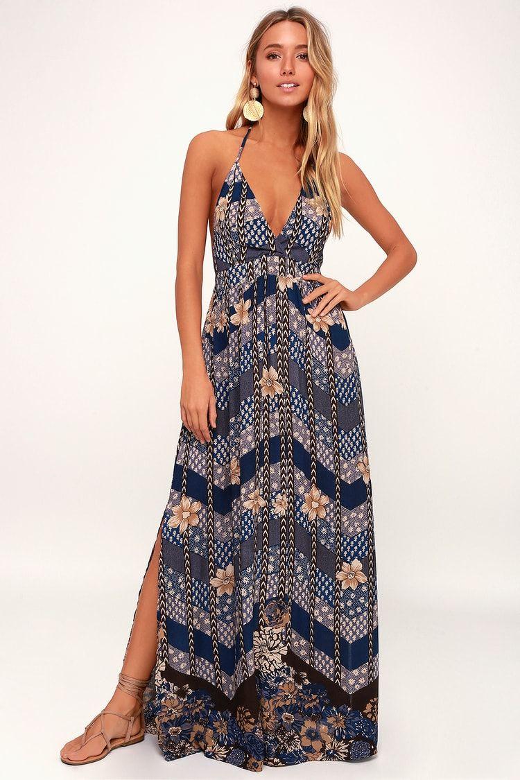 6adb07effe Lulus | Annalisa Blue Multi Floral Print Halter Maxi Dress | Size X ...