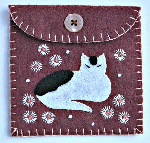 Cat coin purse felt wallet Daisy Cat pink by PuffinPatchwork, $17.00