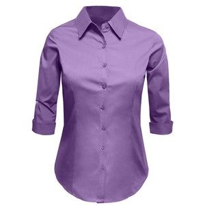 LE3NO Womens Plus Size Roll Up 3/4 Sleeve Button Down Shirt with ...