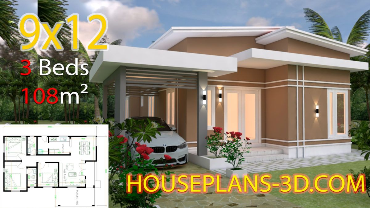 House Design 9x12 With 3 Bedrooms Hip Roof Small House Design Plans House Plans Small House Design