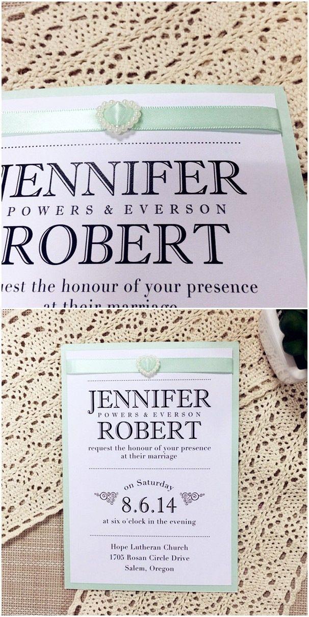 Elegant Mint Green Ribbon Layered Wedding Invitations