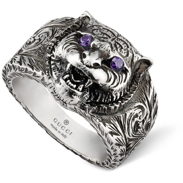 Gucci Gatto Silver Feline Head Engraved Band Ring ($330