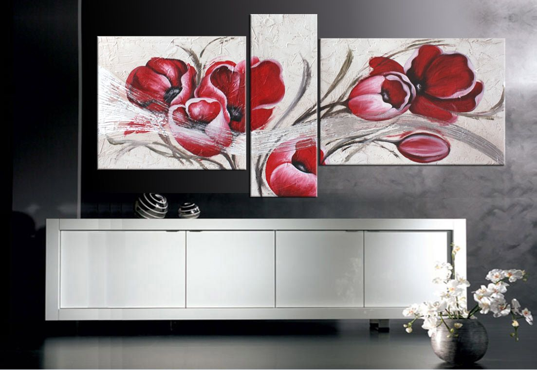 Quadri floreali moderno rosso. Quadro con fiori moderno dipinto ad ...