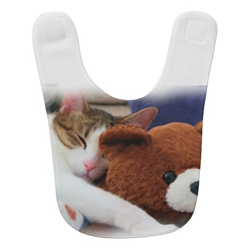 Sweet Sleepy Kitty with Teddy Bear Bib | Zazzle.com