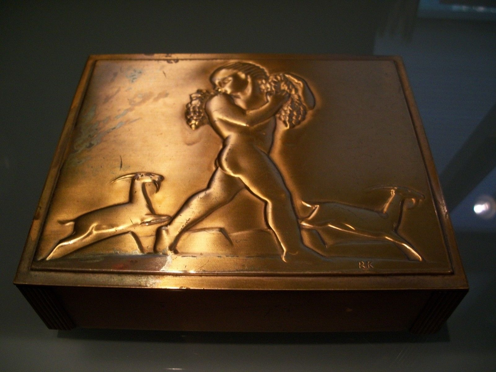 Rockwell kent rare antique bronze metal chase box art deco nude sculpture signed ebay
