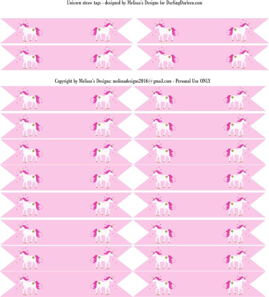 Unicorn Straw Tags Baby Shower Ideas Pinterest Unicorns Unicorn Party And Unicorn Birthday