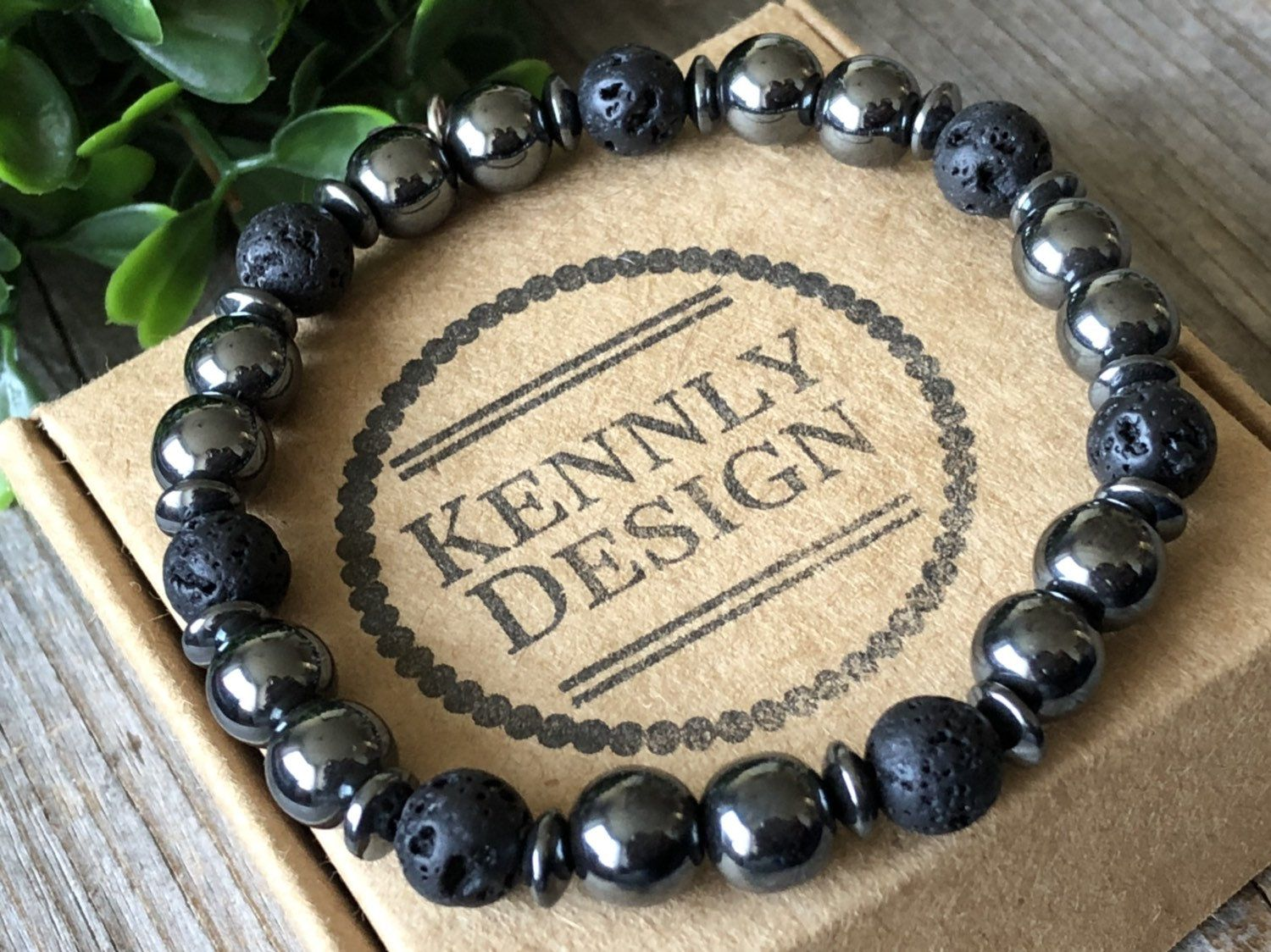 Men gemstone bracelet, Surf Black bracelet, rock beaded