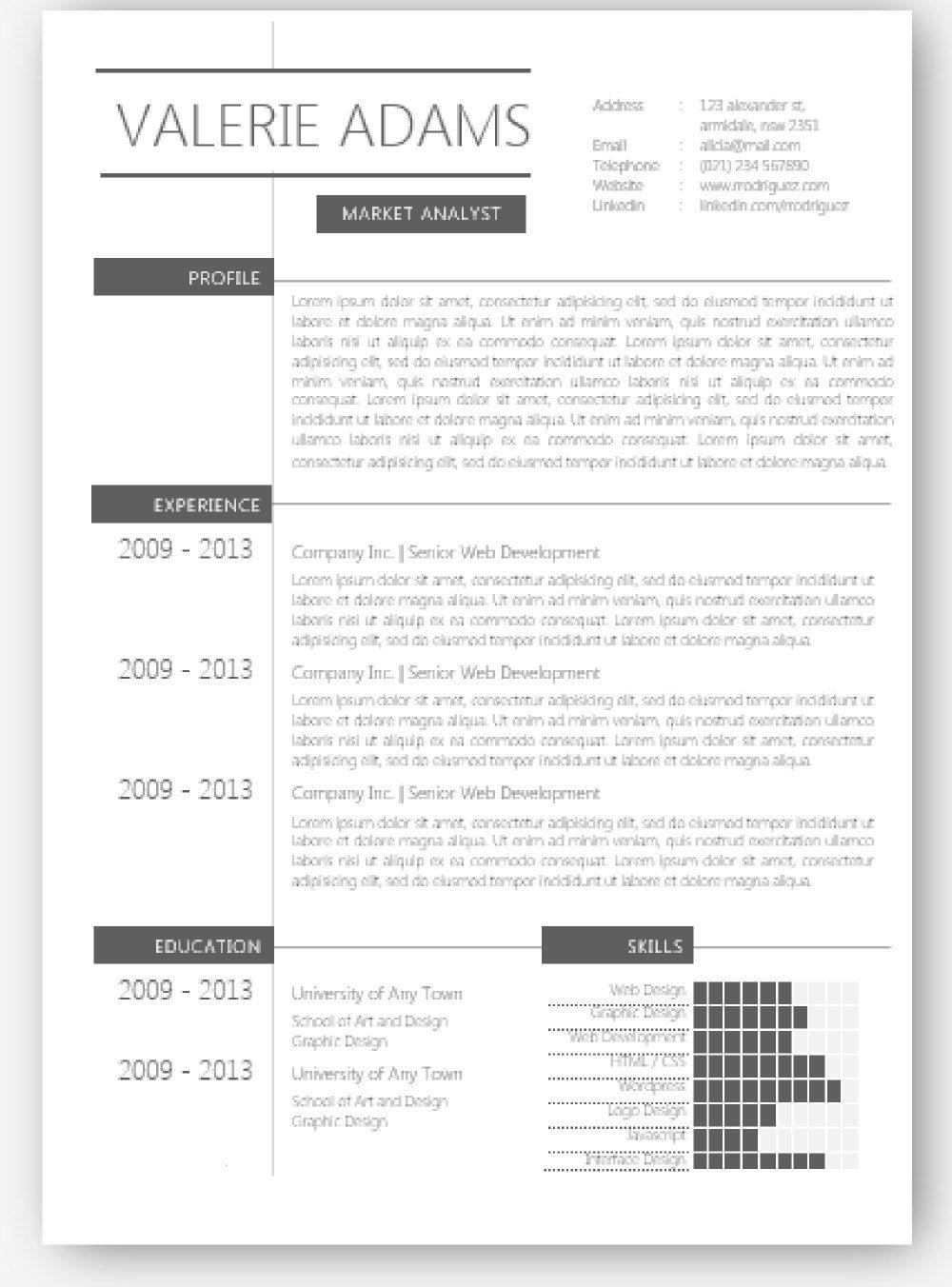 Grey Elegant Neat Microsoft Word Resume Template Resume Template