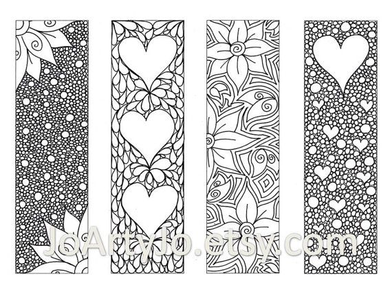 Zendoodle Bookmarks Diy Zentangle Inspired Hearts And Flowers Printable Coloring Valentine S Day Digital Download Sheet 8 Estampados Zentangle Libro De Colores Y Separador De Libros