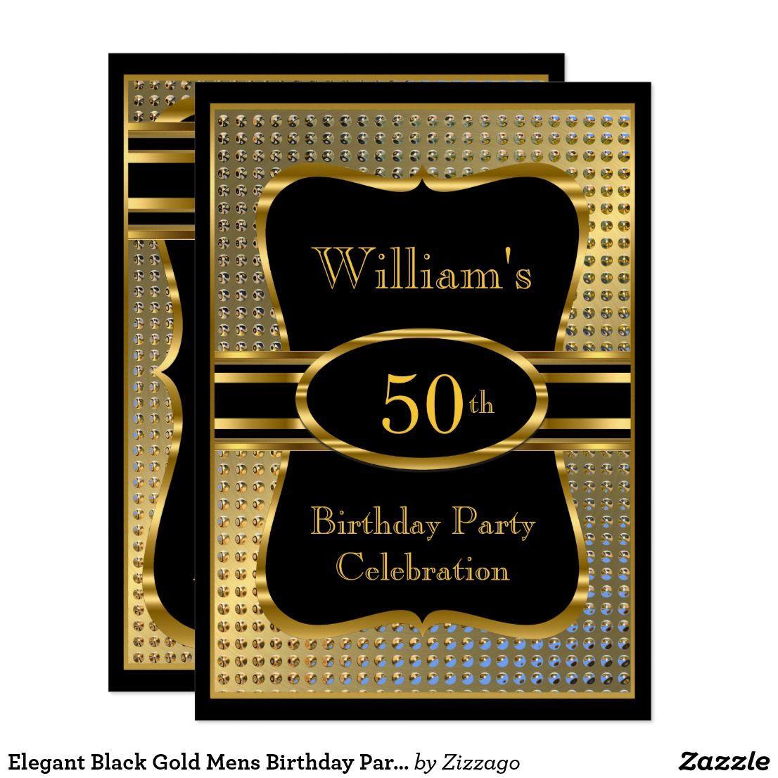 Elegant Black Gold Mens Birthday Party Invitation   Zazzle.com   Mens birthday  party, 50th birthday invitations, Gold birthday party