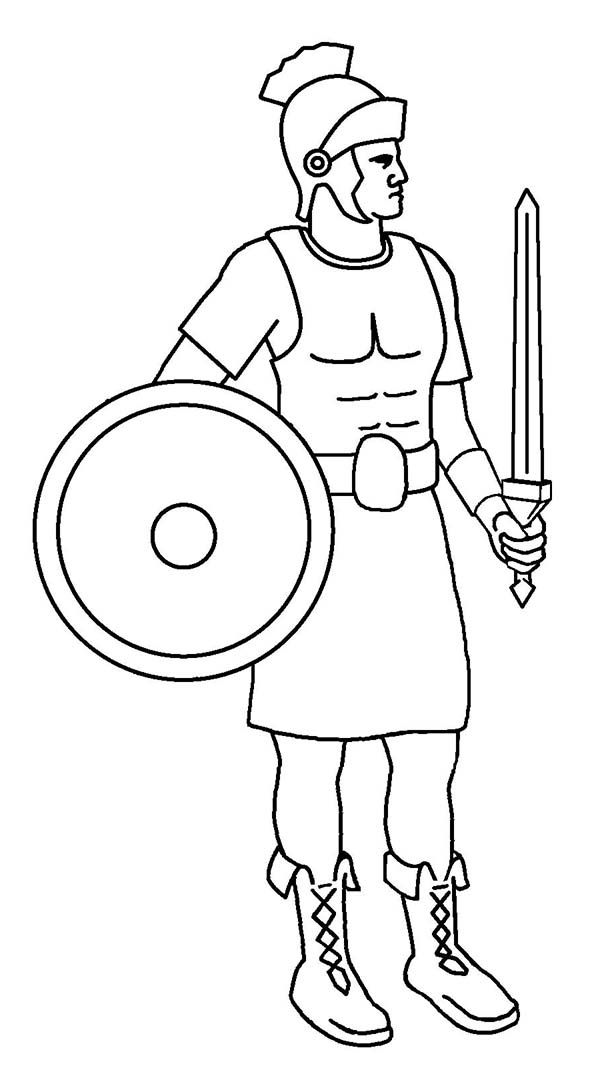 a roman soldier from late ancient rome coloring page
