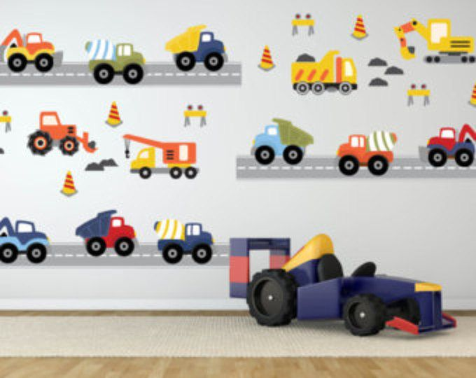 Kleinkinderbett Für Mädchen Construction Truck Decal - Transportation Wall Decals