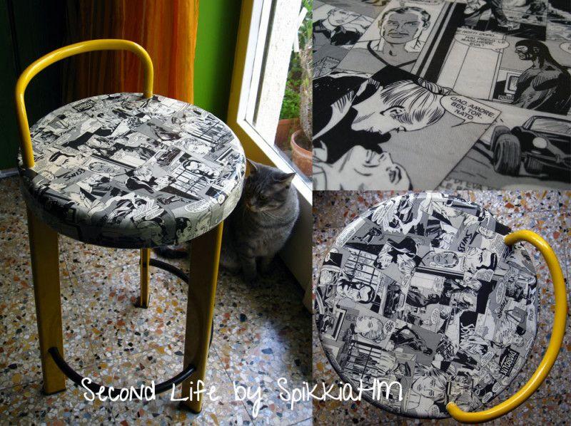 Decoupage diabolik stool diy sgabelli decoupage a fumetti