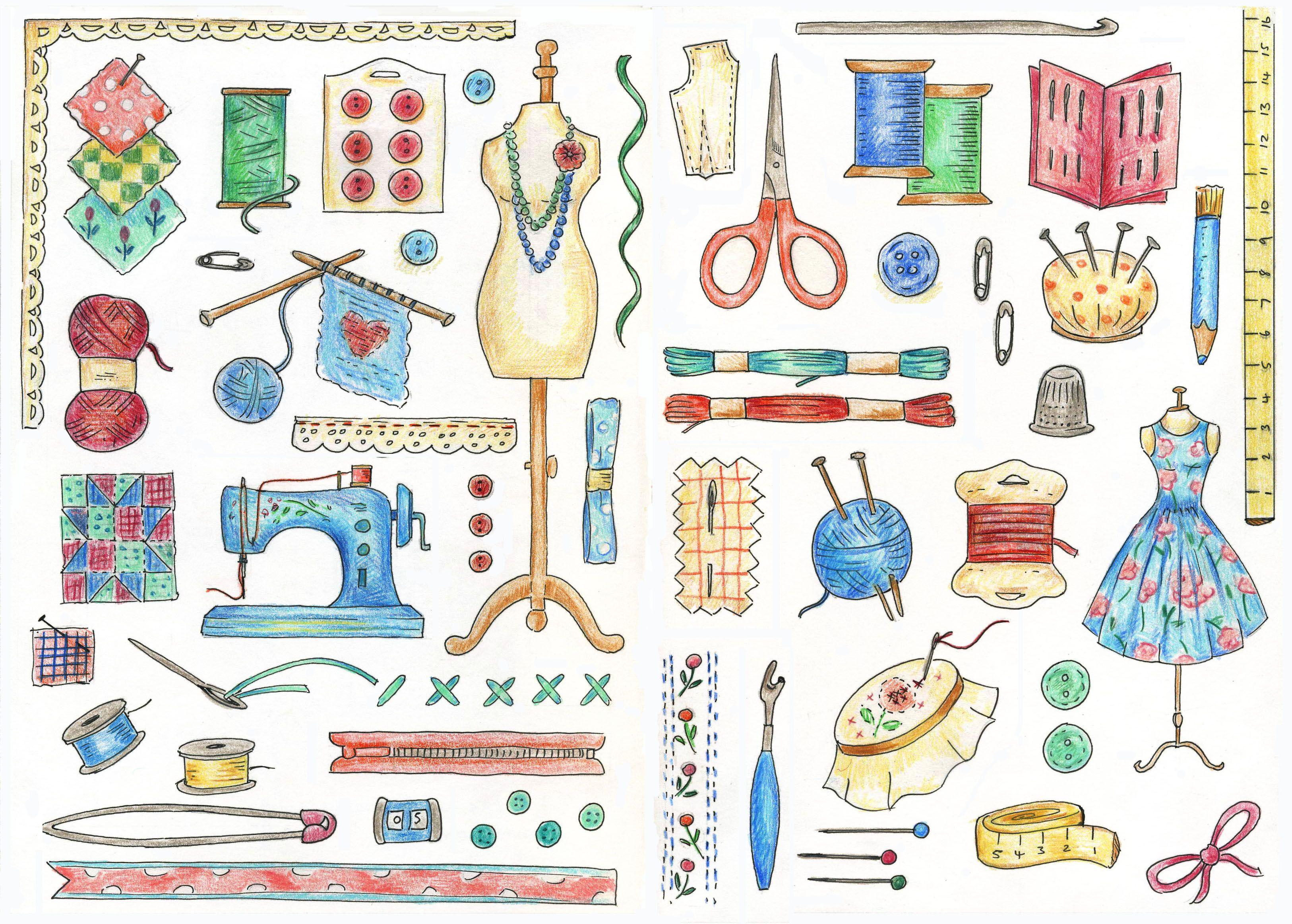Sewing motifs sketch for a cross stitch design in my 'Cross Stitch