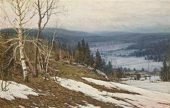 Vast scenario and I like the way he has captured the changing landscape; Artist:;.'WALTER LAUNT PALMER, American (1854-1932): Title: Melting Snow  (1907); Medium: kmmpastel and gouache on board, signed lower left and dated 1901..