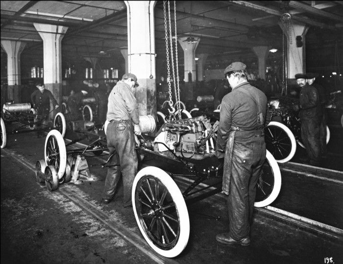 Henry Ford S Moving Automotive Assembly Line Turns 1 Ford Models