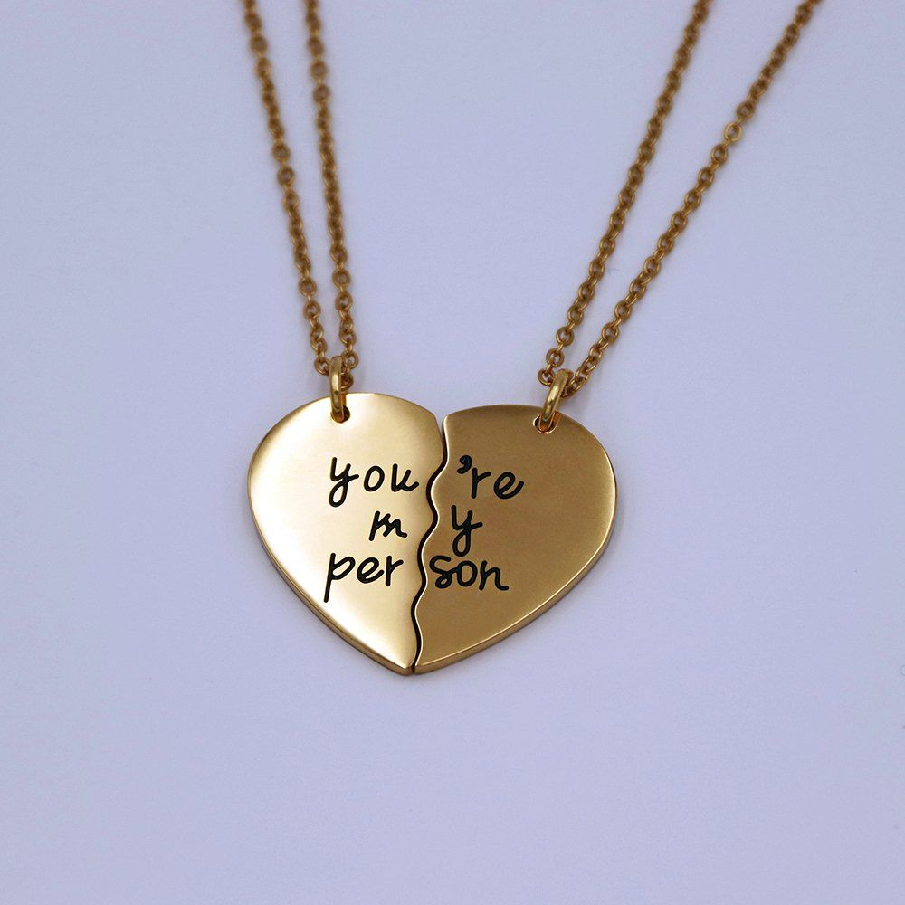 You Are My Person Broken Two Half Heart Pendant Necklace Lover Couples Best Friends Bff Necklaces Gifts For 2 G Bff Necklaces Gift Necklace Best Friend Jewelry