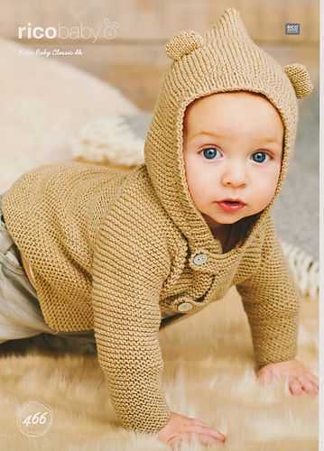687f1144826d Baby or child hooded jacket in garter stitch