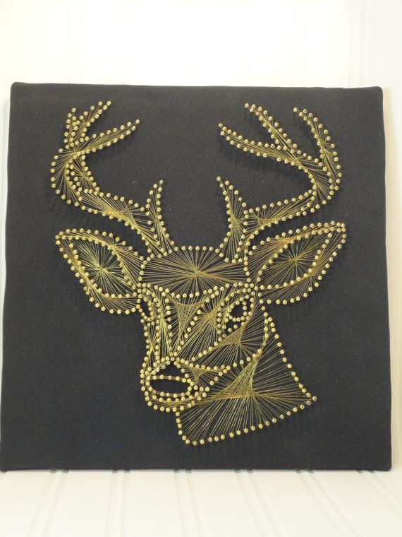 vintage stag string art wall hanging. Black Bedroom Furniture Sets. Home Design Ideas