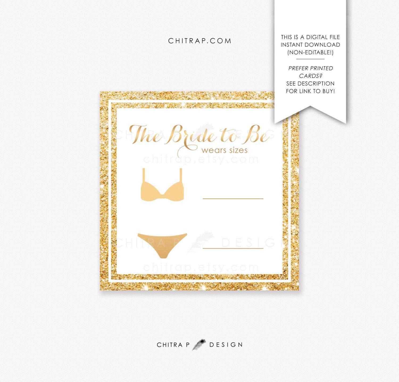 Bridal lingerie size insert card printed printable gold bridal bridal lingerie size insert card printed printable gold bridal shower invitation glitter bachelorette bra panty modern download 081 filmwisefo