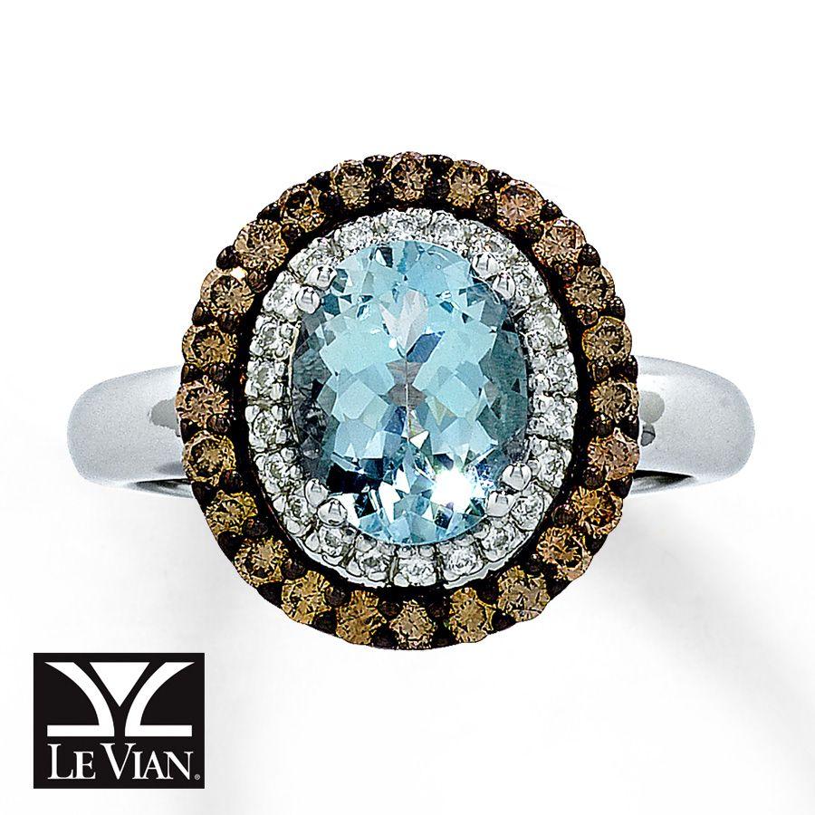 Jared - Le Vian Aquamarine Ring 1/2 ct tw Diamonds 14K Vanilla ...