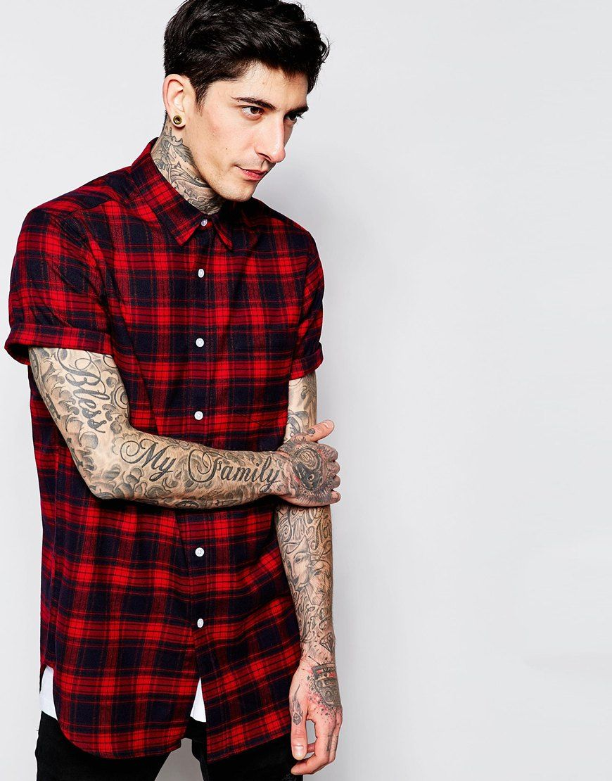 Red Flannel Shirt Short Sleeve