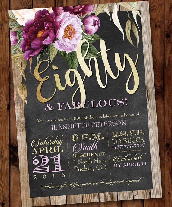 80 Fabulous Birthday Invitation 80th 70th 60th 50th Adult Female Floral