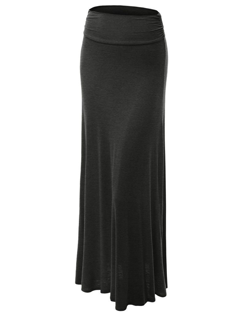 Womens Plus Size Floor Length Maxi Skirt With Stretch