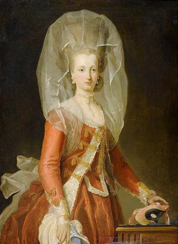 Lady with a mask – attributed to Charles-Amédée-Philippe van Loo (1719-1795).