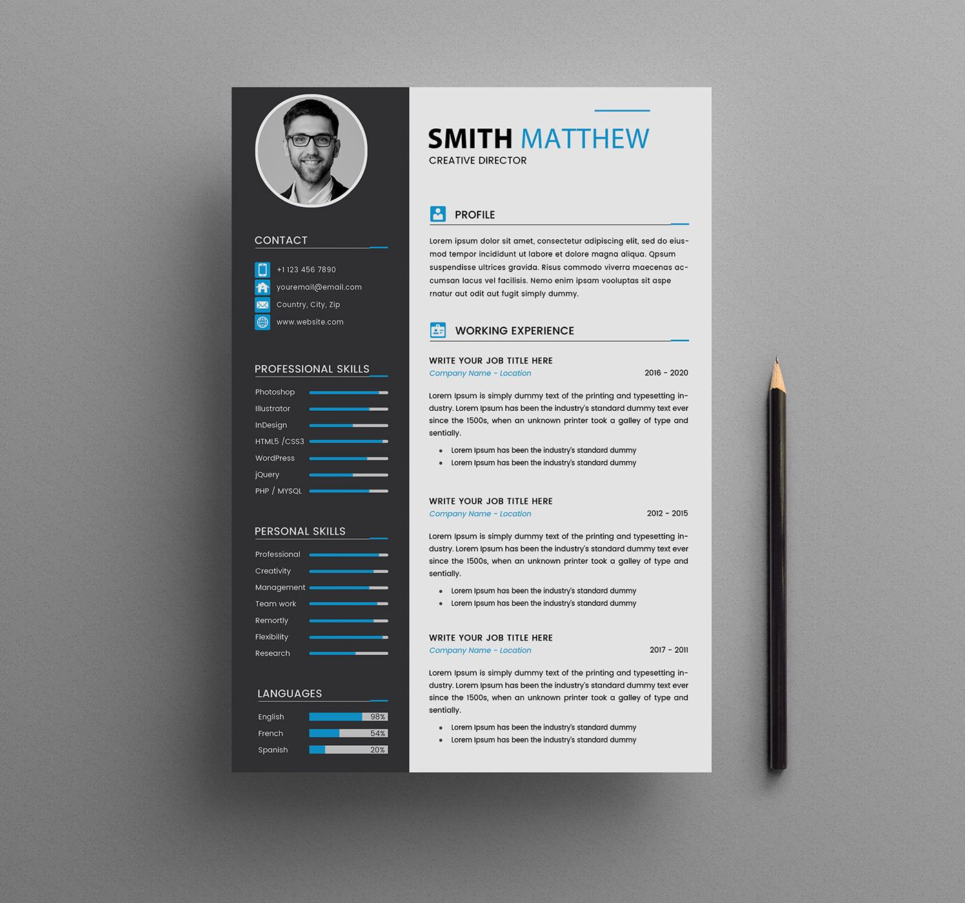 Cv Resume Templates Free Download On Behance Free Resume Template Download Cv Template Free Cv Design Template Free