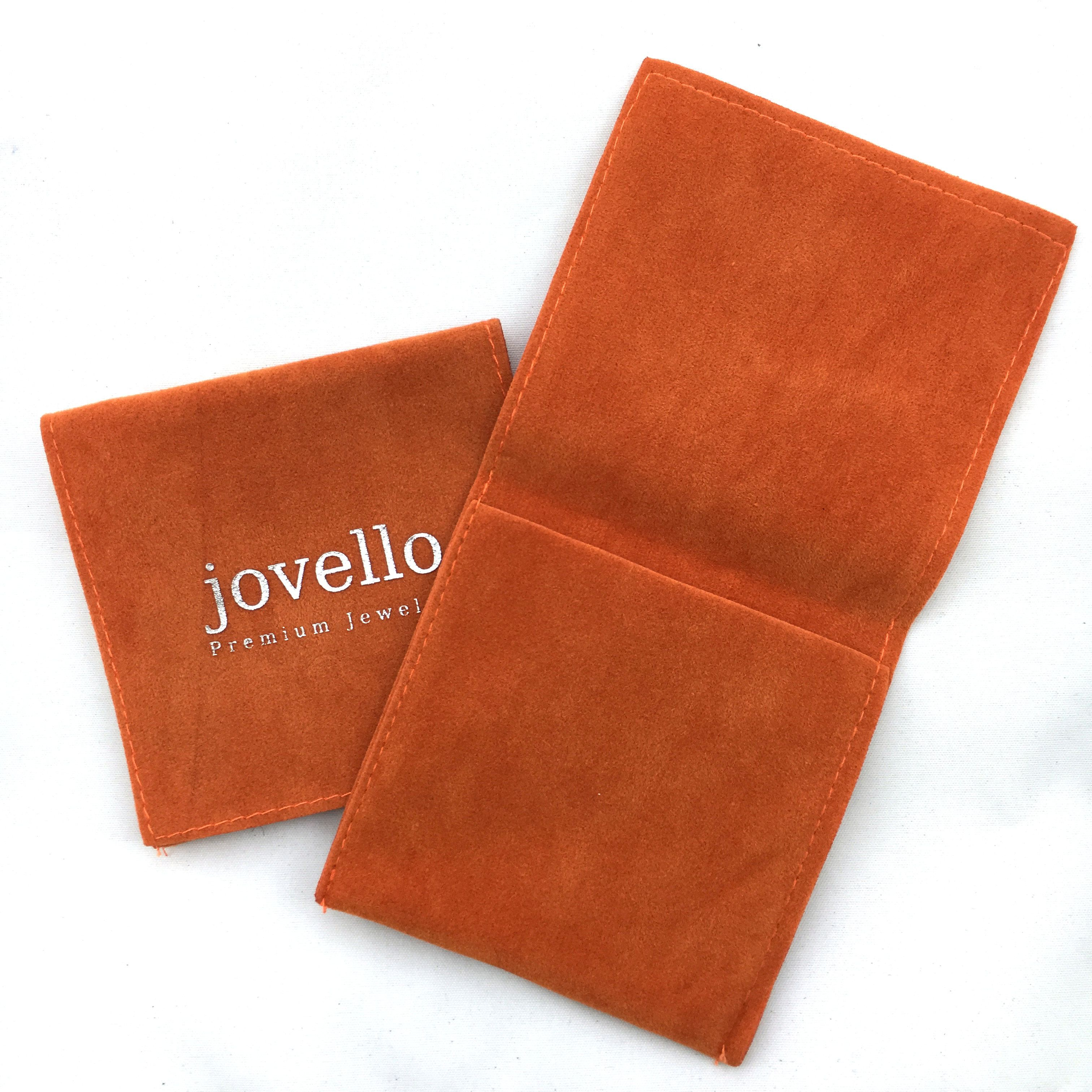 4 4 inches Orange flap velvet jewelry pouch necklace