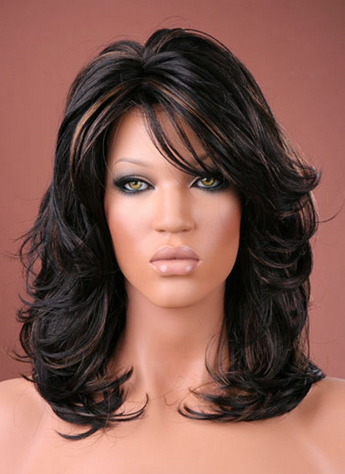 Ladies long blonde hair wig black brown red full fashion wig forever