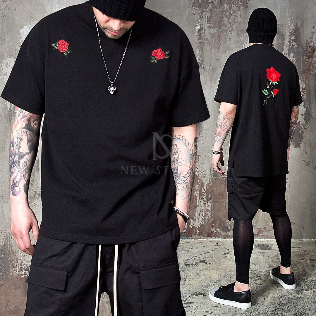 4ecc08b3d64 Red rose embroidered boxy t-shirts - 720  MensT-shirts