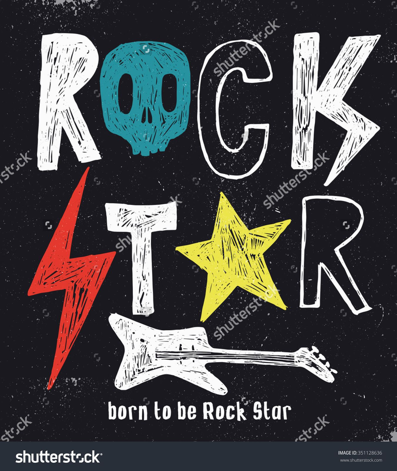 Hand Drawn Rock Star Typography Stock Vector (Royalty Free) 351128636