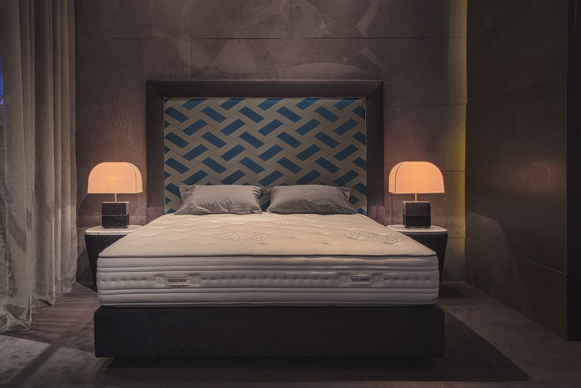 Buddha schlafzimmer ~ Frame bed with fabric by dedar milano twist side table and flare
