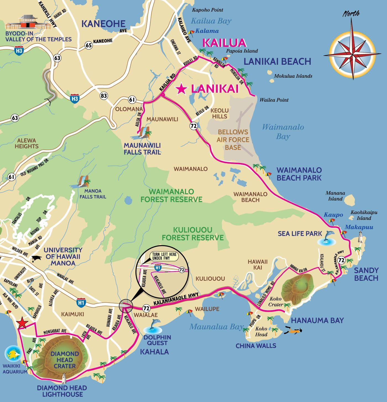 Map Kailua Lanikai Kailua Beach Oahu Vacation Kailua Hawaii