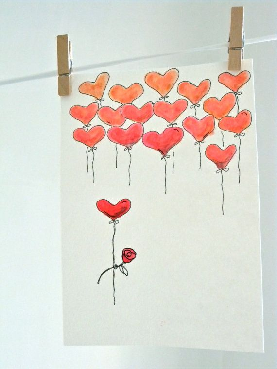 Watercolor Valentine Valentines Art Valentines Watercolor